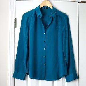 Ann Taylor teal blue button front silk top